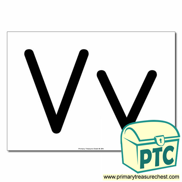 'Vv' Upper and Lowercase Letters A4 poster (No Images)