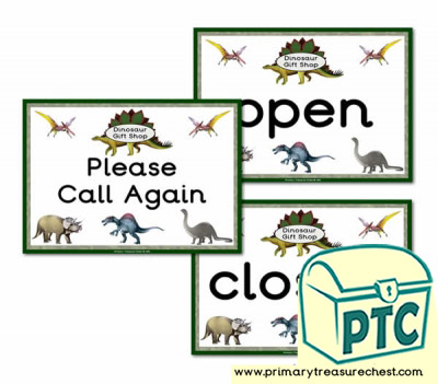 Dinosaur Gift Shop Role Play Open/Closed/Cal Again Signs