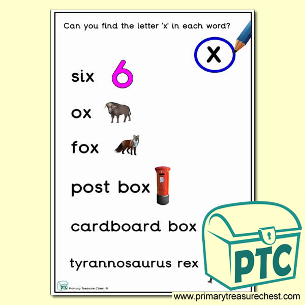 Find the Letter 'x' Activity Sheet