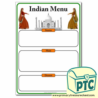 Indian Restaurant Role Play Menu Worksheet