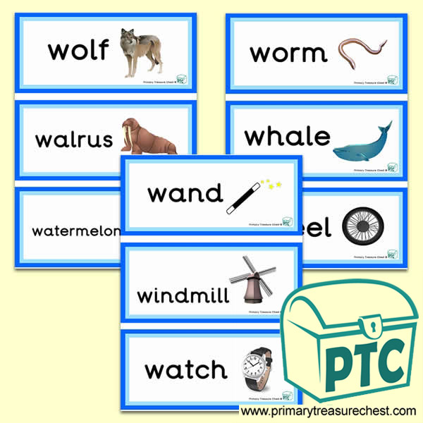 Letter 'w'  Themed Flashcards