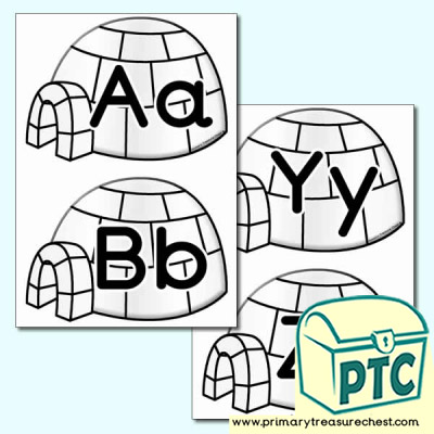Igloo Themed Lowercase Alphabet Cards