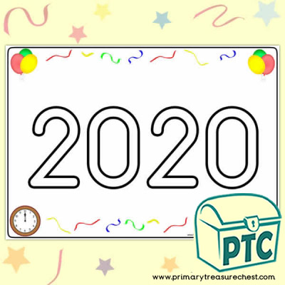 2019 Play Dough Mat with Colourful New Year's Themed Images