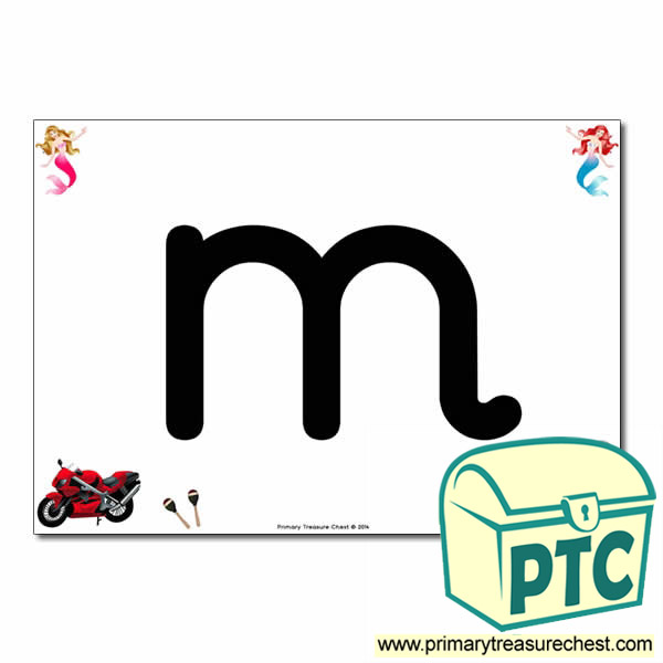 'm' Lowercase  Letter A4 Poster containing high quality realistic images.