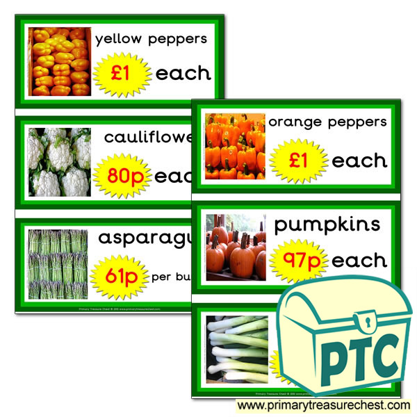 Greengrocers Role Play Vegetable Prices Flashcards (21p-£99)
