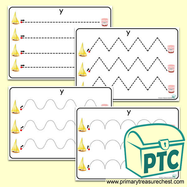 'Yy'' Themed Pre-Writing Patterns Activity Sheets