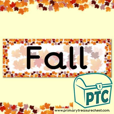 Fall Display Heading/ Classroom Banner