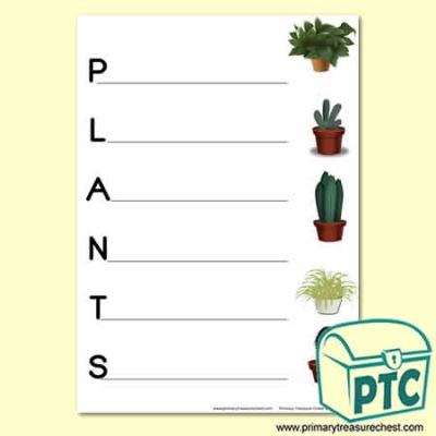 'Plants' Acrostic Poem Sheet