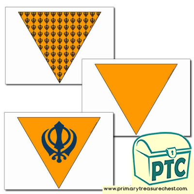 Sikh Flag themed bunting, 3 x A4.