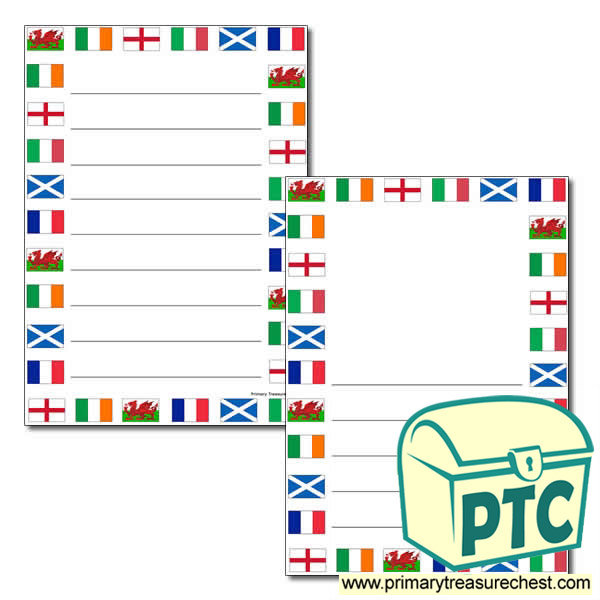 Six Nations Flags Themed Page Border with Wide Lines