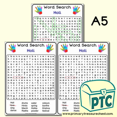 A5 Holi Word Search