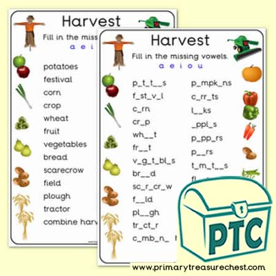 Harvest Missing Vowels Worksheet