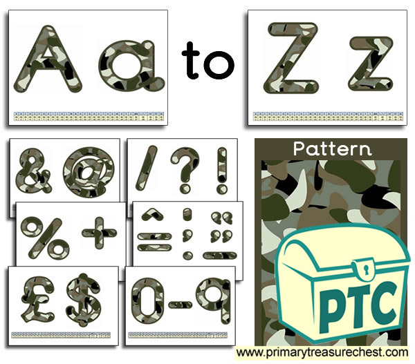 Army Camouflage themed Display Lettering