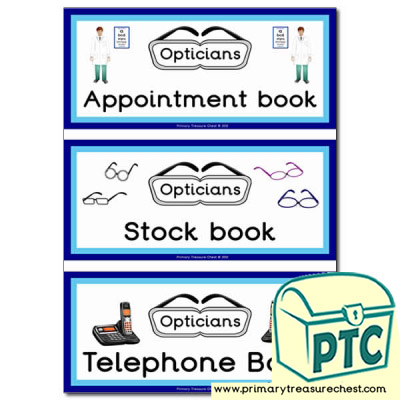 Role Play Opticians Book Covers / Labels
