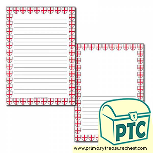 English Flag Themed Page Border - Narrow Lined