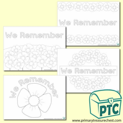 'We Remember' Colouring Sheets