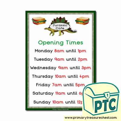 Dinosaur Park Cafe Role Play Opening Times Sign (O'Clock)
