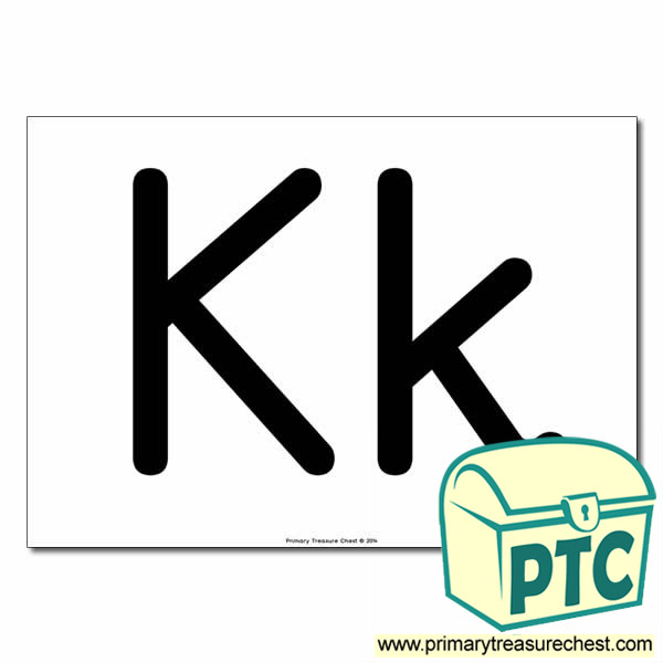'Kk' Upper and Lowercase Letters A4 poster (No Images)