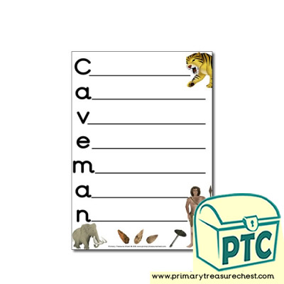 Caveman / Early Man Themed Acrostic Poem