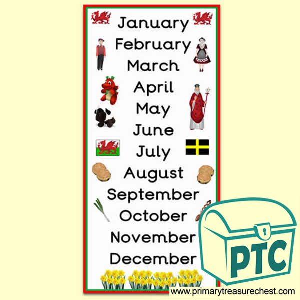 Welsh Themed Months of the Year Poster