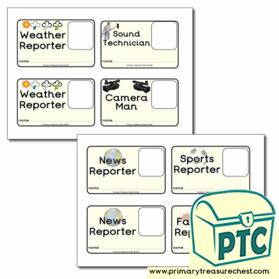 ID Badges for you News Desk and Weather Forecasting Role Play Corner
