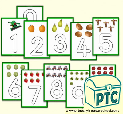 0 to 10 Harvest Playdough Mats