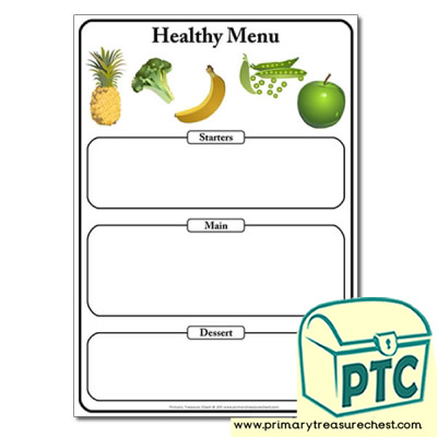 Healthy Food Menu Worksheet