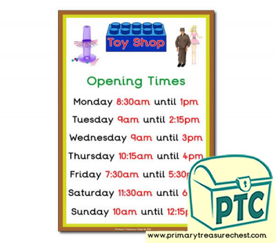 1960s Toy Shop Opening Times (Quarter & Half Past)