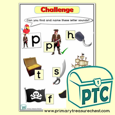 Pirate Tuff Tray Phonic Challenges