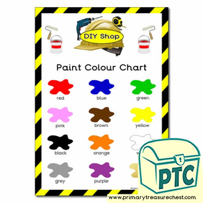 Role Play DIY Shop Colour Paint Chart