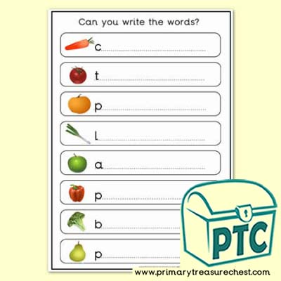Harvest Topic Words Worksheet - Single Letter Sounds / Letter Clues