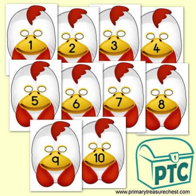 Chicken Role Play Masks Numbered 1-10