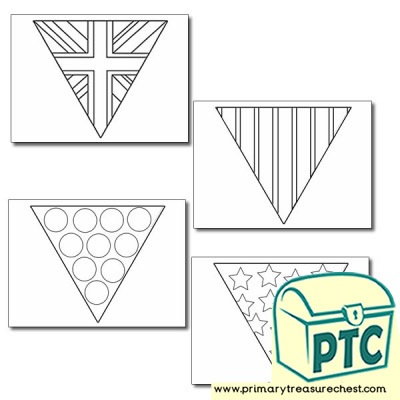 British Flag Bunting Colouring Sheets