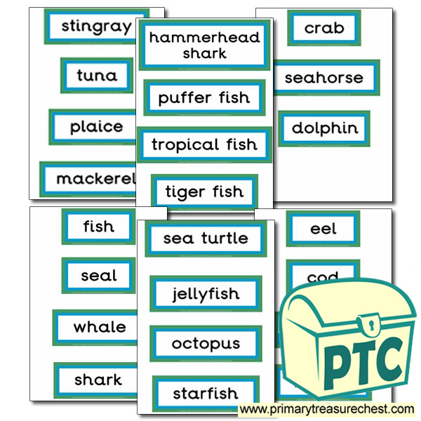 Sea Life Themed Display Words