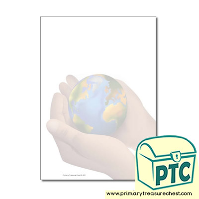 Hand Holding World Page Border/Writing Frame (no lines)