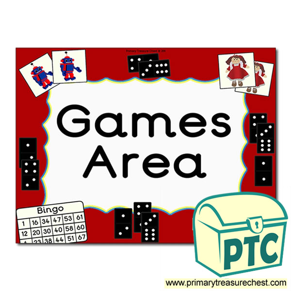 Games Area Sign For The Classroom Primary Treasure Chest