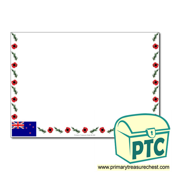 Anzac Day Themed Landscape Page Border - No lines