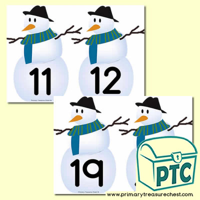 Snowman Themed Number Line 11-20