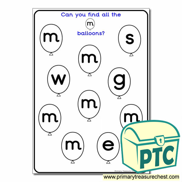 Letter 'm' Balloon Activity Sheet