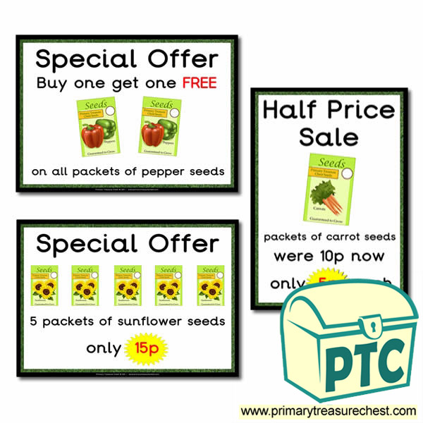 Role Play Garden Centre Seeds Special Offers Posters (1-20p)