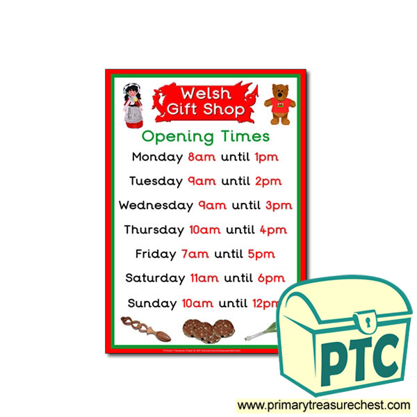 Welsh Gift Shop Opening Times Poster (O'clock)