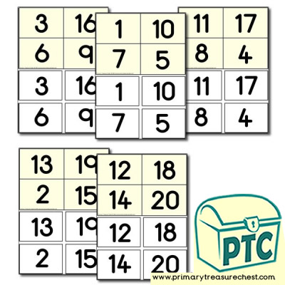 Childrens Bingo Cards - Numbers 1-20
