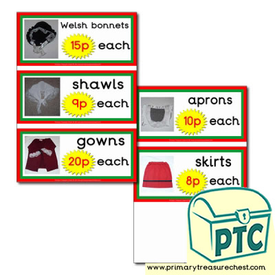Welsh Costume Prices Flashcards with Photos (1-20p)