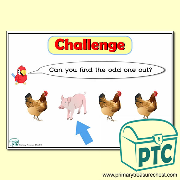 Farm Animals themed Odd-One-Out Challenge A4 Poster