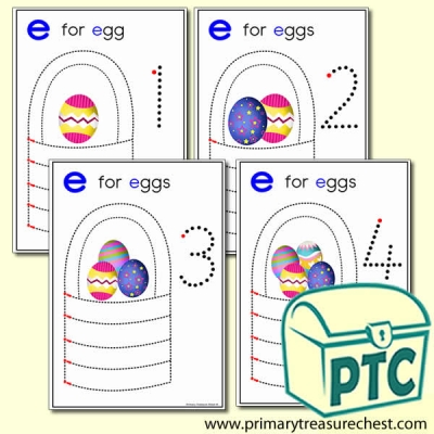 Easter Egg Themed Numeracy and Pencil Control - Letter 'e'