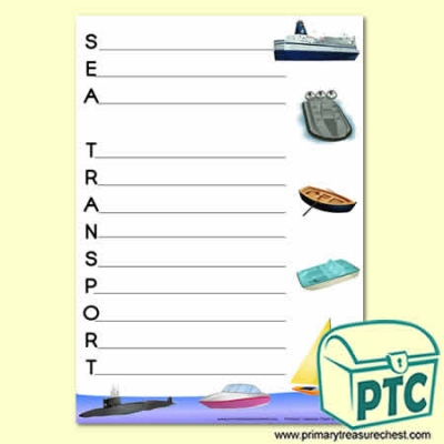 'Sea Transport' Acrostic Poem Sheet