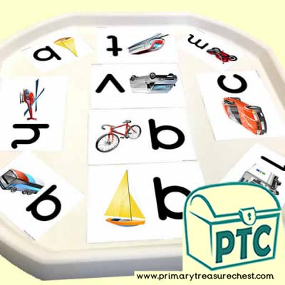 Transport - Land, Sea & Air Themed Phonics Tuff Tray Cards