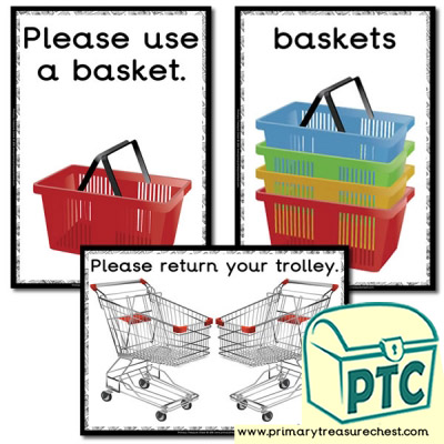 Role Play Newsagents Basket / Trolley Signs