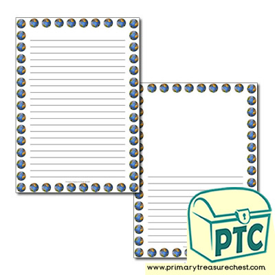 Planet earth Themed  Page Border/Writing Frame (narrow lines)