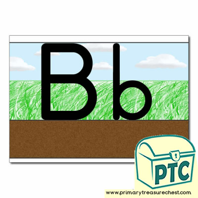 Letter 'Bb' Ground-Grass-Sky Letter Formation Sheet